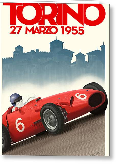 Torino Greeting Cards - Torino Grand Prix 1955 Greeting Card by Nomad Art And  Design