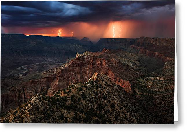 Best Sellers -  - Summer Storm Greeting Cards - Torment Over the Canyon Greeting Card by Adam  Schallau