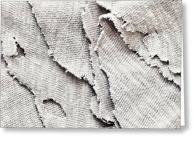 Torn Greeting Cards - Torn fabric Greeting Card by Tom Gowanlock