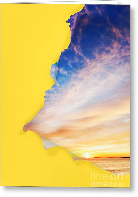 Sun Breakthrough Greeting Cards - Torn paper sunrise Greeting Card by Jo Ann Snover