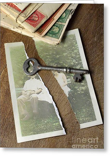 Love Letter Greeting Cards - Torn Photograph with Key and Old Letters Greeting Card by Jill Battaglia