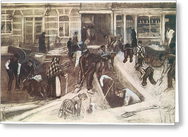 Torn-up Street With Diggers Greeting Card by Vincent van Gogh