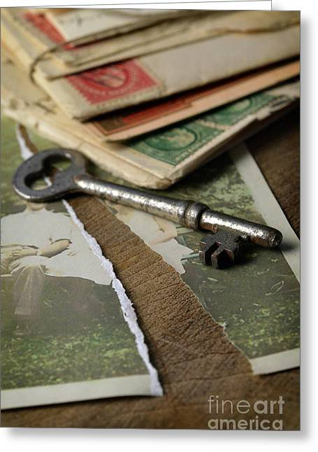 Divorce Greeting Cards - Torn Vintage Photograph with Key Greeting Card by Jill Battaglia