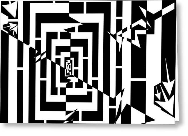 Worm Hole Drawings Greeting Cards - Torn Worm Hole Maze  Greeting Card by Yonatan Frimer Maze Artist