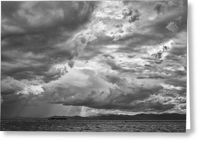 Tornado Clouds Over Lake Champlain Burlington Vermont Black And White Greeting Card by Andy Gimino