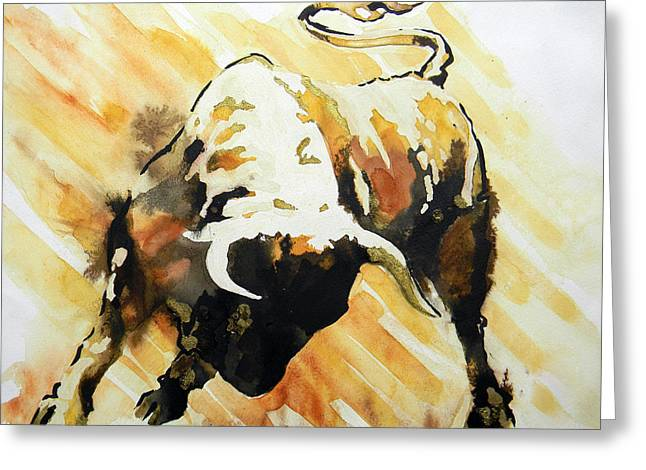 Unique Art Drawings Greeting Cards - Toro Greeting Card by Jose Espinoza