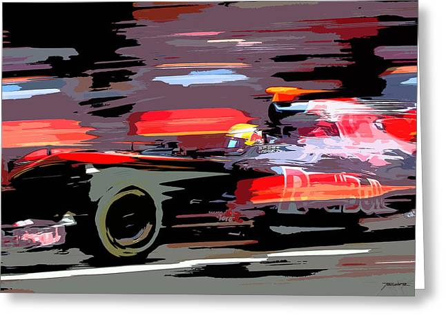 Catalunya Paintings Greeting Cards - Toro Rosso Pit Greeting Card by Tano V-Dodici ArtAutomobile