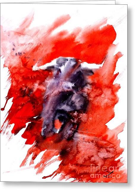 Toreador Paintings Greeting Cards - Toro Greeting Card by Zaira Dzhaubaeva