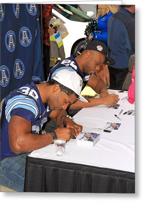 Autograph Greeting Cards - Toronto Argonauts Players Signing Autographs Greeting Card by Valentino Visentini