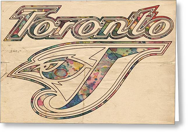 Baseball Greeting Cards - Toronto Blue Jays Logo Art Greeting Card by Florian Rodarte