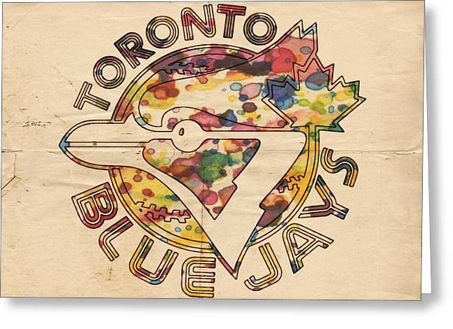 Bat Digital Greeting Cards - Toronto Blue Jays Vintage Art Greeting Card by Florian Rodarte