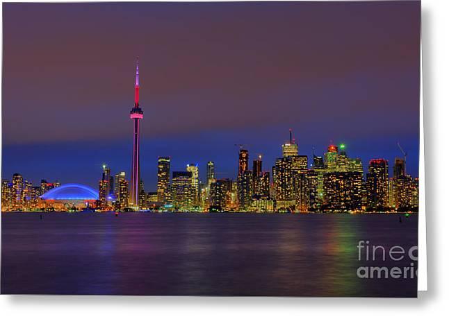Toronto By Night... Greeting Card by Nina Stavlund