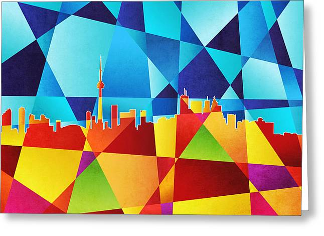 Abstract Geometric Digital Art Greeting Cards - Toronto Canada Skyline Greeting Card by Michael Tompsett