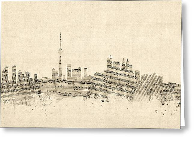 Toronto Canada Skyline Sheet Music Cityscape Greeting Card by Michael Tompsett