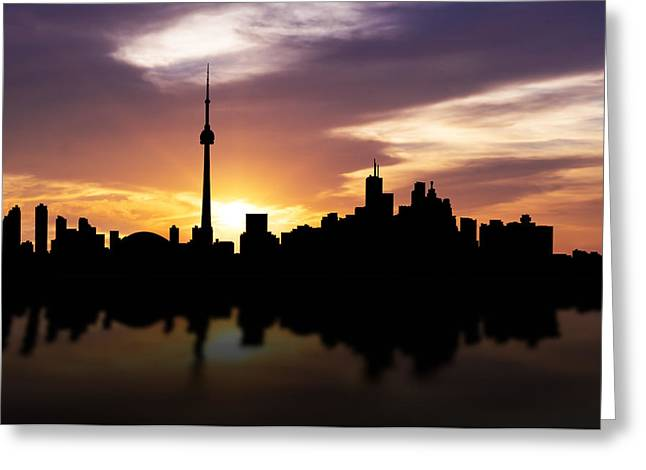 Canada Mixed Media Greeting Cards - Toronto Canada Sunset Skyline  Greeting Card by Aged Pixel