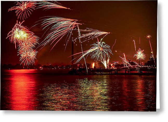 Reflecting Water Greeting Cards - Toronto fireworks Greeting Card by Elena Elisseeva