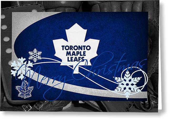 Skate Greeting Cards - Toronto Maple Leafs Christmas Greeting Card by Joe Hamilton