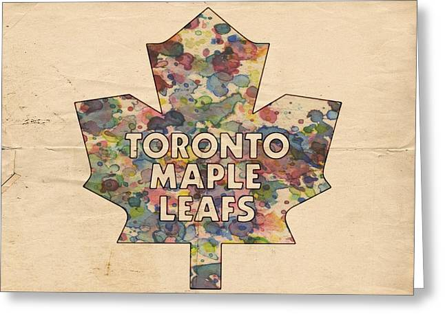 Hockey Helmet Greeting Cards - Toronto Maple Leafs Hockey Poster Greeting Card by Florian Rodarte