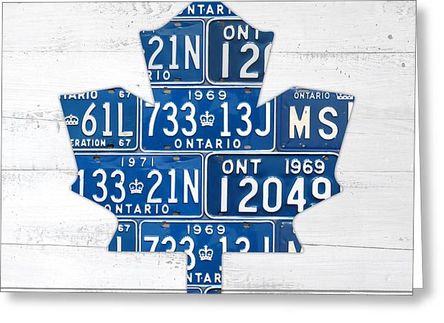 Team Greeting Cards - Toronto Maple Leafs Hockey Team Retro Logo Vintage Recycled Ontario Canada License Plate Art Greeting Card by Design Turnpike