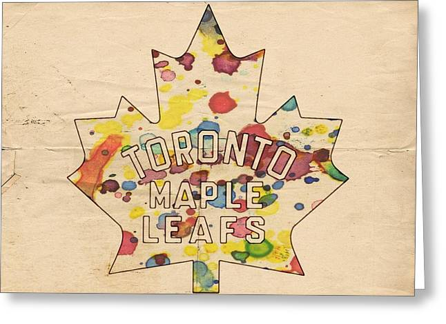 Toronto Maple Leafs Vintage Poster Greeting Card by Florian Rodarte