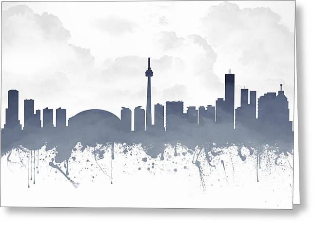 Canadian Mixed Media Greeting Cards - Toronto Ontario Skyline - Blue 03 Greeting Card by Aged Pixel