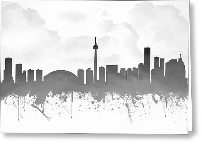 Canadian Mixed Media Greeting Cards - Toronto Ontario Skyline - Gray 03 Greeting Card by Aged Pixel