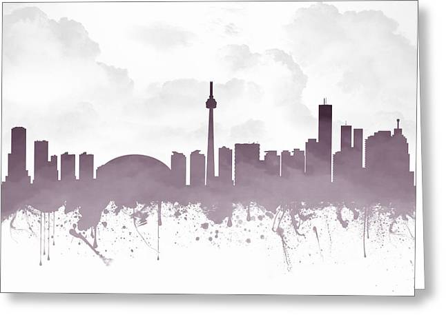 Canadian Mixed Media Greeting Cards - Toronto Ontario Skyline - Purple 03 Greeting Card by Aged Pixel