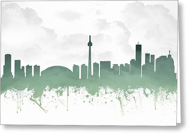 Canadian Mixed Media Greeting Cards - Toronto Ontario Skyline - Teal 03 Greeting Card by Aged Pixel
