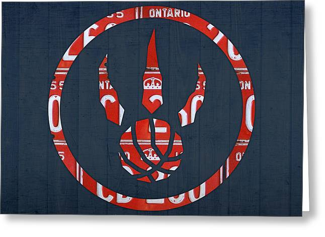 Basketball Team Greeting Cards - Toronto Raptors Basketball Team Retro Logo Vintage Recycled Ontario License Plate Art Greeting Card by Design Turnpike