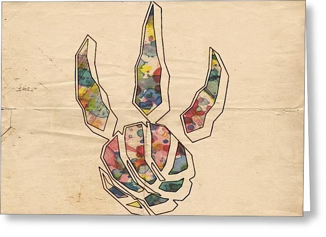 Slamdunk Greeting Cards - Toronto Raptors Logo Art Greeting Card by Florian Rodarte