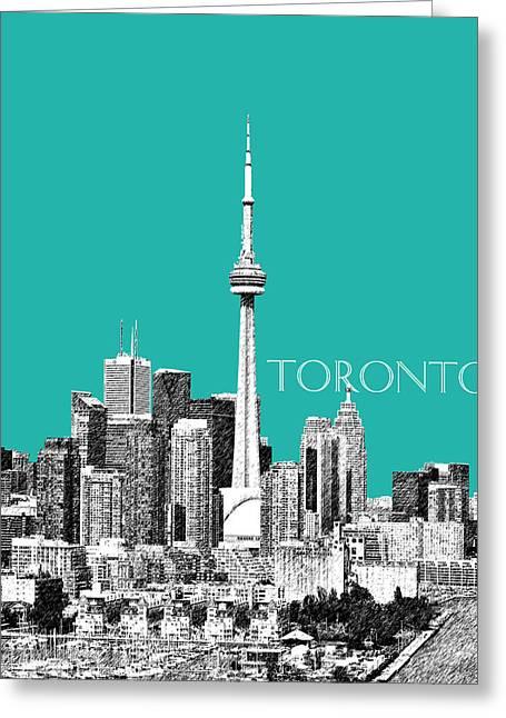 Canada Art Greeting Cards - Toronto Skyline - Teal Greeting Card by DB Artist