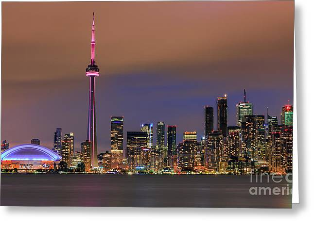 Acryl Greeting Cards - Toronto Skyline after Sunset Greeting Card by Henk Meijer Photography