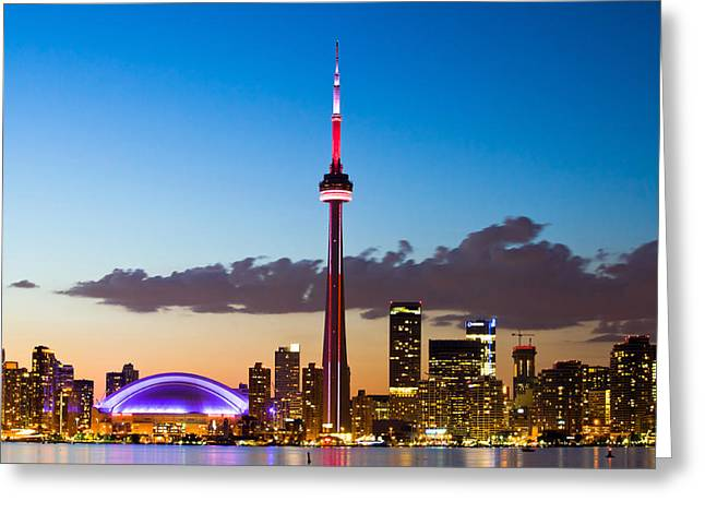 Gradations Greeting Cards - Toronto Skyline Greeting Card by Aqnus Febriyant