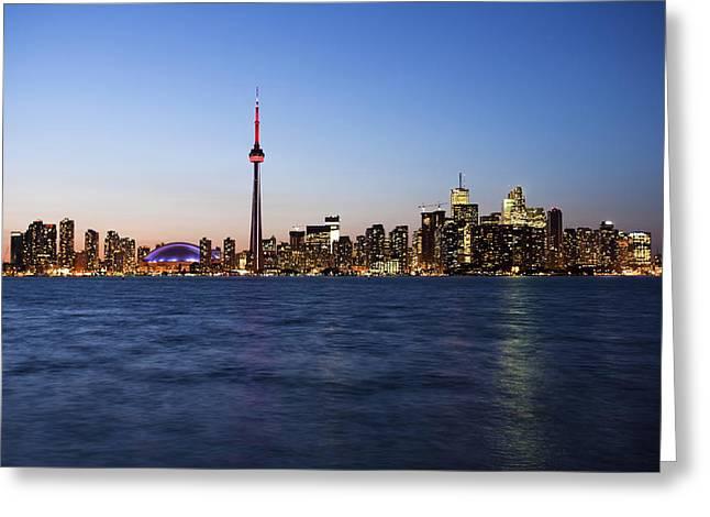 Centre Court Greeting Cards - Toronto Skyline CN Tower at Sunset Greeting Card by Samuel Kessler
