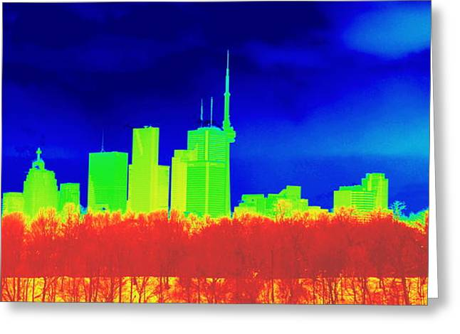 Inverted Color Greeting Cards - Toronto Skyline in Colors Greeting Card by Valentino Visentini