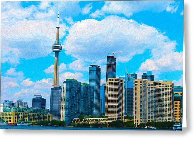 City Lights Greeting Cards - Toronto Skyline in Summer Greeting Card by Nina Silver