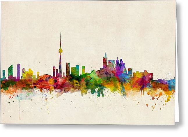 Urban Watercolour Greeting Cards - Toronto Skyline Greeting Card by Michael Tompsett