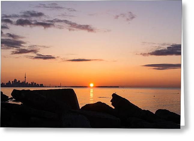 Toronto Skyline Panorama At Sunrise Greeting Card by Georgia Mizuleva
