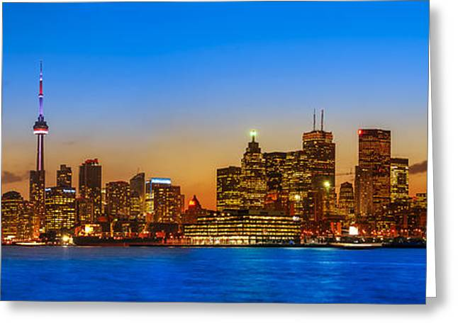 City Lights Greeting Cards - Toronto Skyline Panorama Greeting Card by Sebastian Musial