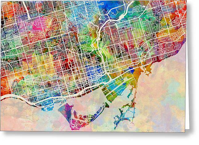 Ontario Greeting Cards - Toronto Street Map Greeting Card by Michael Tompsett