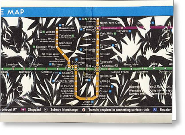 Alfred Ng Art Greeting Cards - Toronto Subway Map Squirrels Greeting Card by Alfred Ng
