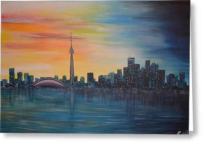 Beach At Night Greeting Cards - Toronto Sunset Greeting Card by Ruth Oosterman