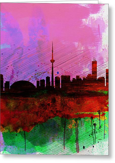 Downtown Digital Greeting Cards - Toronto Watercolor Skyline Greeting Card by Naxart Studio