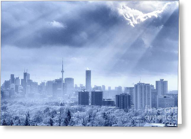 Snowstorm Greeting Cards - Toronto Winter Blue Greeting Card by Charline Xia
