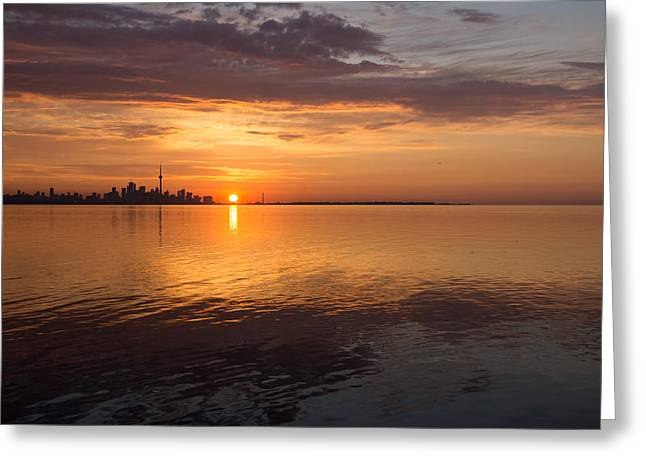 Office Space Greeting Cards - Torontos Skyline at Sunrise Greeting Card by Georgia Mizuleva