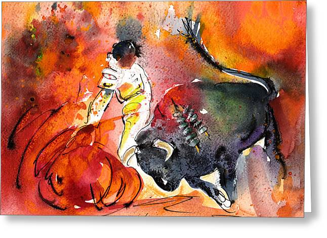 Toreador Paintings Greeting Cards - Bullfighting The Reds Greeting Card by Miki De Goodaboom