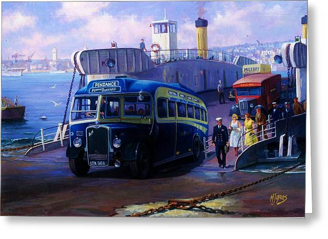 Bus Greeting Cards - Torpoint ferry. Greeting Card by Mike  Jeffries
