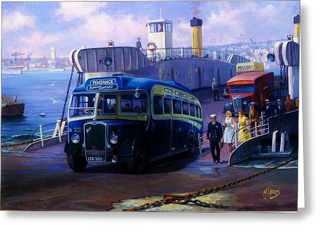 Classic Bus Greeting Cards - Torpoint ferry. Greeting Card by Mike  Jeffries