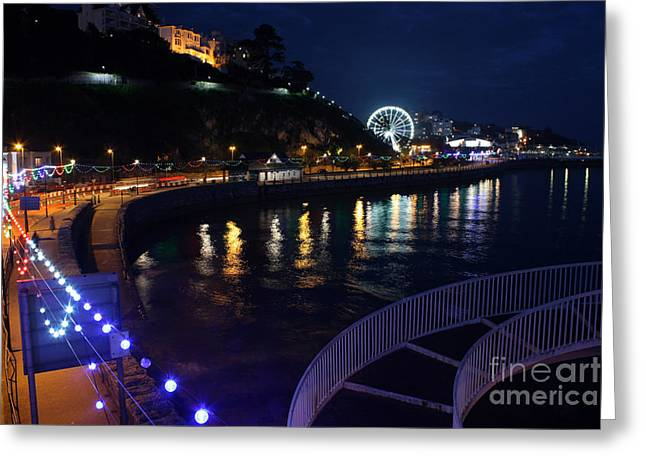 Terri Waters Greeting Cards - Torquay The Strand at Night Greeting Card by Terri  Waters