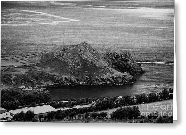 Coastal Route Greeting Cards - Torr head with old abandoned coastguard signalling station irelands most north easterly point Greeting Card by Joe Fox